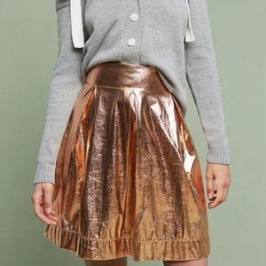 Anthropologie Maeve Rose Gold Metallic Mini Skirt